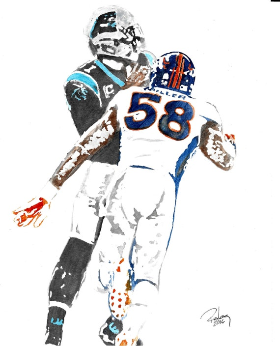 Original Artist Watercolor of Denver Broncos\' VON MILLER