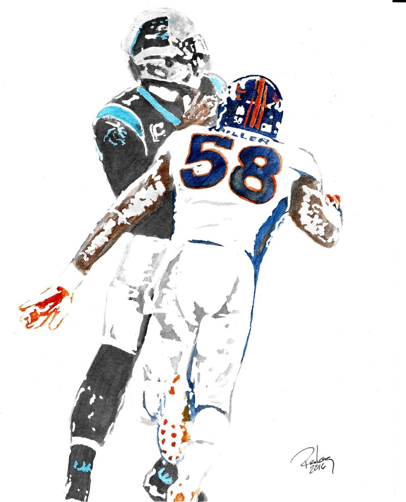 half off 15fe9 c780d Original Artist Watercolor of Denver Broncos' VON MILLER! Available in  8X10, 11X14 and 20x30 Prints Sizesl Great Gift Idea! Super Bowl MVP