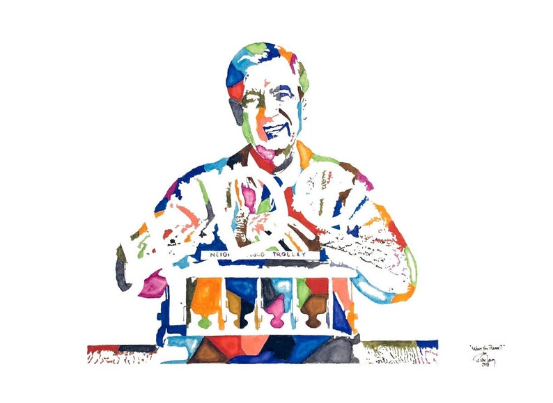 Artist Watercolor Original Painting of Mr  Fred Rogers of Mr  Rogers  Neighborhood!! Available in 9x11, 11x14 and 20x30 Prints as well!!