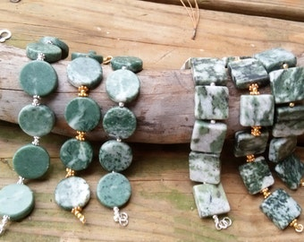 Green Marble Bracelet - Natural Stone - Chunky - Boho Chic - Organic Earthy Glam - Healing Stone - Circle or Square Beads
