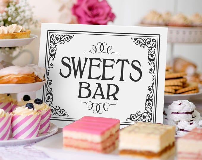 Wedding Decor, Instant Download | PRINTABLE Wedding, Sweets Bar Decor, Black White Wedding, Wedding Sign, Sweets Bar Sign, Wedding Decor