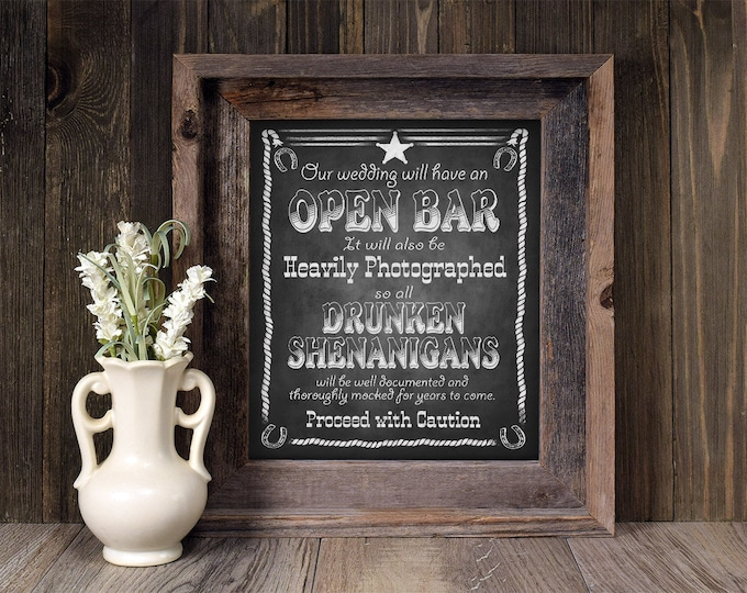 Western Wedding Sign | PRINTABLE Bar sign, Wedding Printable, Open Bar Wedding Signage, Chalkboard Wedding decoration, Country Wedding decor