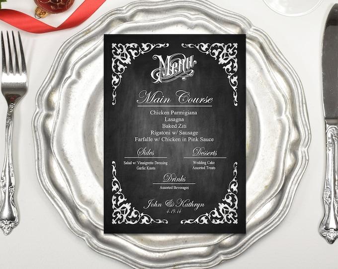 Personalized Menu | PRINTABLE Dinner Menu, DIY Wedding Menu, Chalkboard Menu, Christmas Menu, Wedding Printable Menu, Custom Menu File