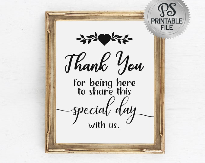 Wedding Thank You Sign | PRINTABLE Wedding Sign, Thank You Wedding Signage, Black White Modern Wedding, Special day thank you, DIY Wedding