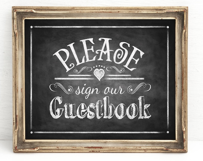 Please Sign our Guestbook Chalkboard Wedding Sign | Instant Download PRINTABLE Wedding Signage
