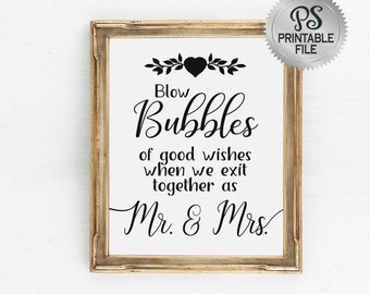 Wedding Bubbles Sign | PRINTABLE Wedding Sign, Black White Modern Wedding Signage, Wedding Send off, Blow Bubbles Sign, Bubbles for Mr Mrs