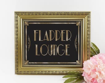1920s Flapper Lounge Sign | PRINTABLE Wedding sign, Reception Signage, Art Deco Bathroom Sign, Wedding Decoration, DIY Grad Party Decor