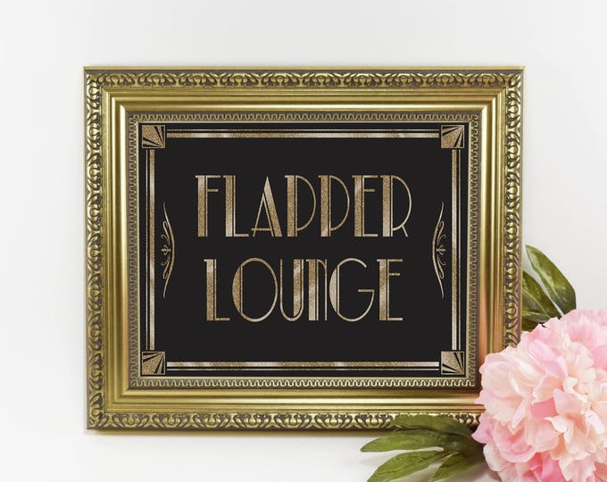 1920s Flapper Lounge Sign | PRINTABLE Wedding sign, Reception Signage, Art Deco Bathroom Sign, Wedding Decoration, DIY Grad Party Decor