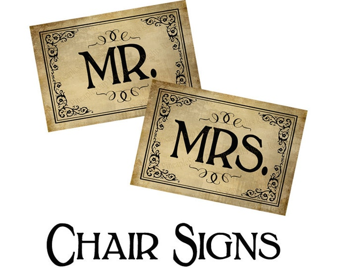 Mr & Mrs Wedding Chair Signs - instant download PRINTABLE digital file - DIY - Vintage Black Tie Collection