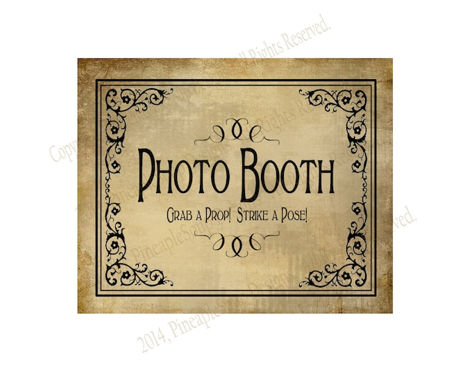 Printable Wedding PHOTO BOOTH sign - 5x7, 8x10 or 11 x 14 - instant download digital file - DIY - Vintage Black Tie Collection