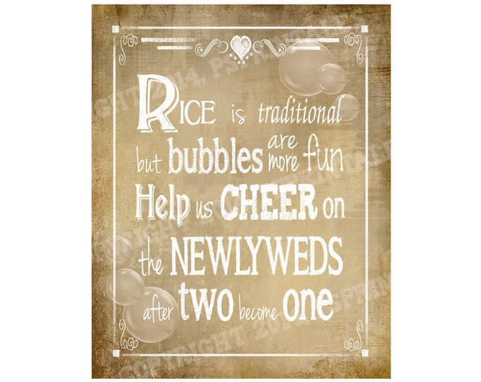 Bubble Send Off Vintage style PRINTABLE DIY Wedding sign - immediately available via download - Vintage Heart Collection - Wedding Signage