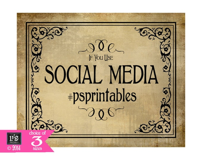 Printable Wedding Social Media sign - 5x7, 8x10 or 11 x 14 - DIY - Vintage Black Tie Collection - Social Media Hashtag sign