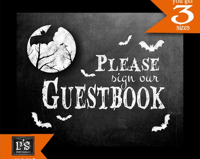 Halloween GUESTBOOK Sign|  Printable Digital Download Halloween Party Decoration