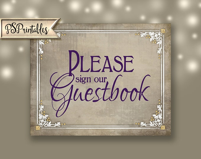 Sign our Guestbook Printable Wedding Sign- wedding guestbook sign, guestbook alternative, purple plum white wedding,- Old Lace Collection