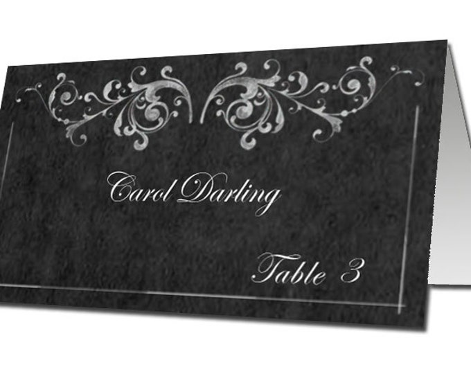 Editable Chalkboard Style TENTED Place cards or Escort Cards - Part of our Victoria Collection