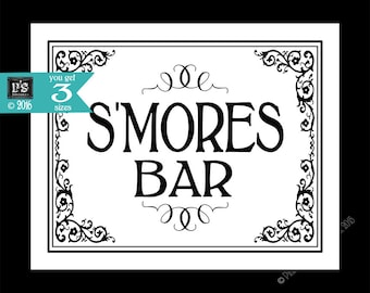 Printable S'mores Bar - Special Event sign - instant download digital file - DIY for wedding graduation retirement - Black Tie Collection