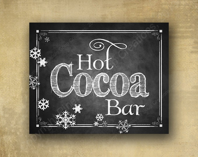 Hot Cocoa Bar Wedding Sign in Chalkboard design- INSTANTLY DOWNLOADABLE and Printable file