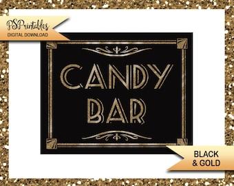 Black & Gold Candy Bar Sign | PRINTABLE Sign, Graduation Sign, Birthday Party Decor, Wedding Signage, 1920s Party Decoration, DIY Party Sign
