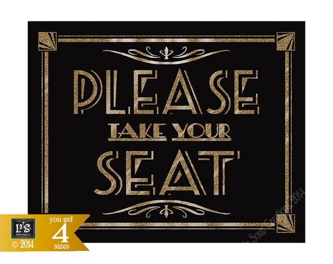 1920s Wedding Sign | PRINTABLE Wedding Sign, Please take your Seat, Roaring 20s Wedding, Black Gold Wedding Printable, instant download
