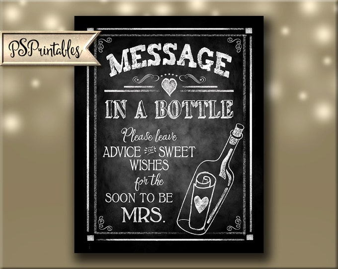 Engagement Party Chalkboard Printable Advice sign - Message in a bottle for the soon to be Mrs - Nautical theme bridal shower - Rustic heart