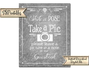 Wedding Photobooth Sign | PRINTABLE wedding sign, Galvanized Photobooth Decor, Photo Booth Sign, Photobooth Guestbook, Take a pic wedding