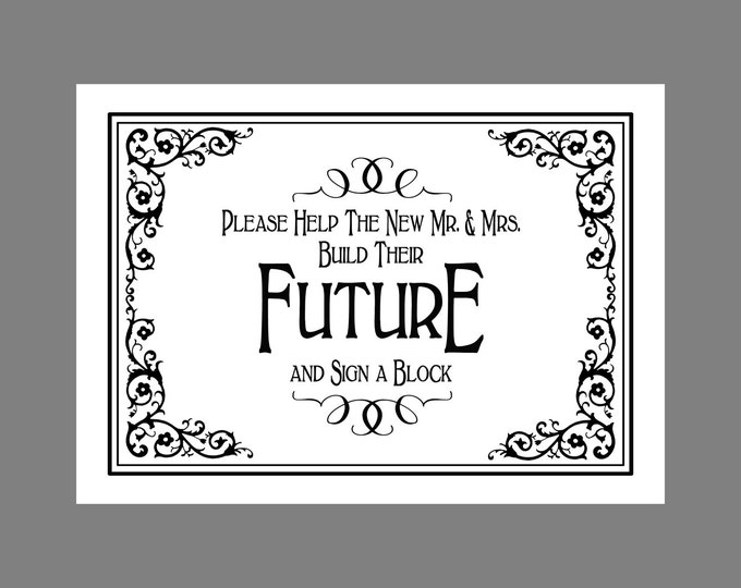 Please help the new Mr & Mrs Build Their Future and SIGN a BLOCK - PRINTABLE Wedding sign-Traditional Black Tie design - Black White Wedding