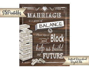 Sign a Block Wedding Game | PRINTABLE Wedding Sign, Stack a Block wedding signage, faux wood personalized sign, Party Printable, DIY Wedding