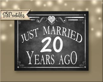 Printable 20th Anniversary JUST MARRIED sign, Anniversary Sign, Just Married 20 years ago chalkboard sign, DIY sign, Rustic Heart Collection
