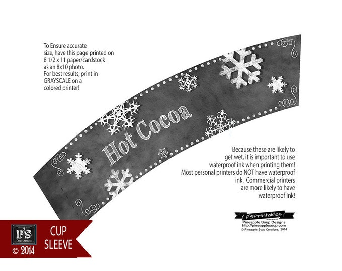 Hot Cocoa Cup Sleeves or Cup Wraps in Chalkboard design- INSTANTLY DOWNLOADABLE and Printable file - hot chocolate bar