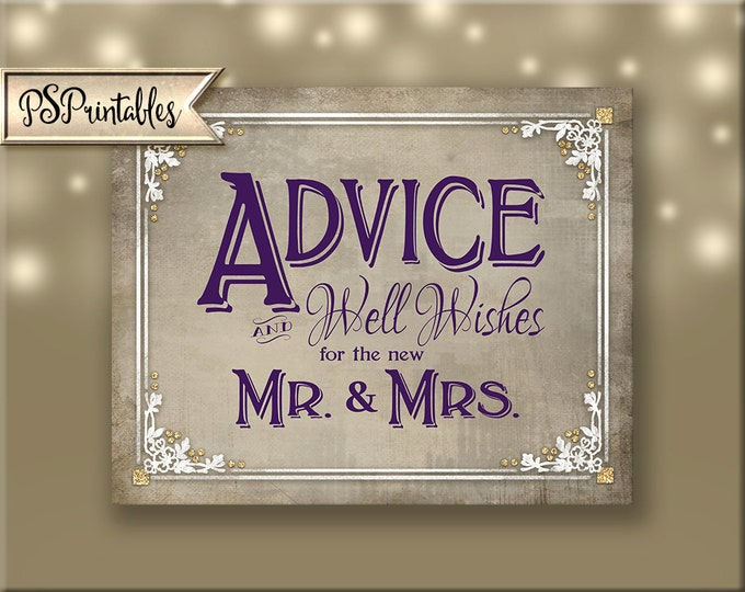Advice and Well Wishes for MR & MRS Printable Wedding Sign- purple plum, cream, white Instant Download - 4 sizes - Old Lace Collection