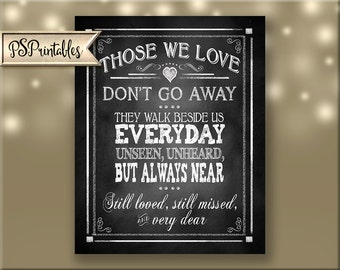 Those we love don't go away they walk beside us memorial quote chalkboard printable sign digital file-Rustic Chalkboard Collection
