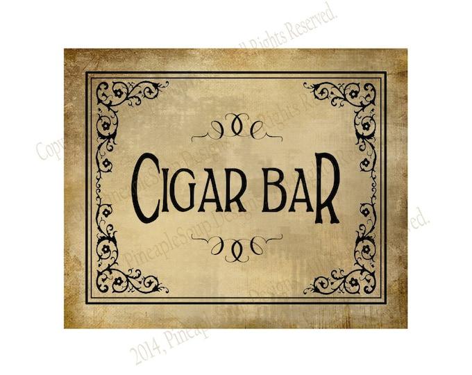 Cigar Bar Printable Wedding or Special Event sign - instant download digital file - Vintage Black Tie Collection - cigar sign