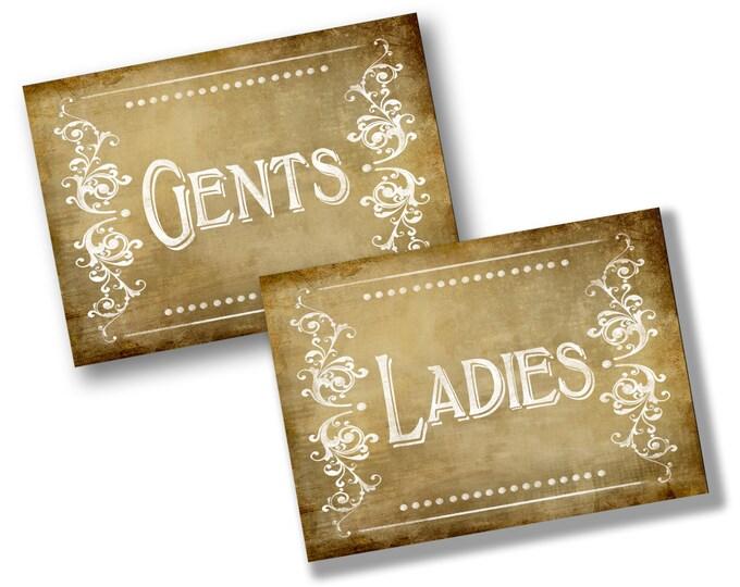 Vintage style Ladies & Gents Bathroom or Dressing Room signs - DIY Printable - Vintage Victoria Collection