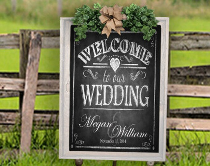 Personalized Welcome to our Wedding Printable File with Bride & Groom Names and wedding date - DIY - Rustic Collection