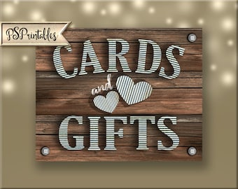 CARDS and GIFTS Sign - DIY instant download - rustic industrial barnwood galvanized metal wedding - sierra collection