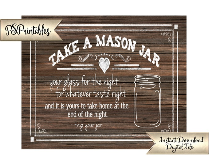 Take a Jar Wedding Favors | PRINTABLE Chalkboard Wedding Sign, Wedding Signage, Reception Decorations, Bar Favors Sign, DIY Wedding Decor