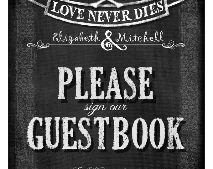 Personalized GUESTBOOK Wedding diy printable - Love Never Dies Halloween Wedding Collection