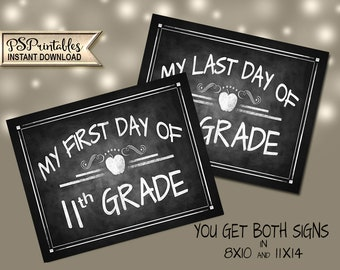 11th Grade Back To School Sign | PRINTABLE First Day School Sign, Chalkboard School Sign, 1st Day of Eleventh Grade, DIY First Day Back Sign