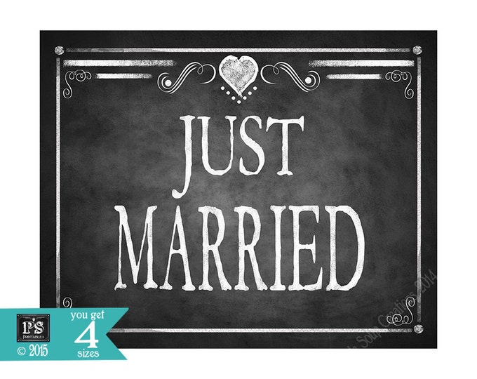 Printable JUST MARRIED sign - instant download digital file - 4 sizes -  DIY - Rustic Collection - wedding car sign