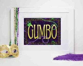 Mardi Gras Party Decoration, Mardi Gras Gumbo, Mardi Gras Gumbo Sign, Mardi Gras party Decor, Party Decorations, Gumbo, Maridi Gras Food