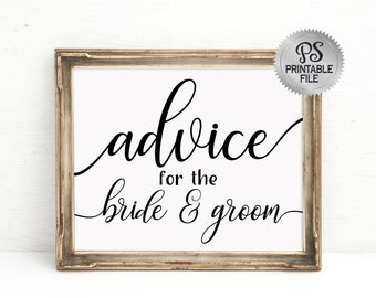 Wedding Advice Sign |  PRINTABLE Wedding advice, Advice for Bride and Groom, Wedding Decorations, Black White Wedding, Modern Wedding Signs