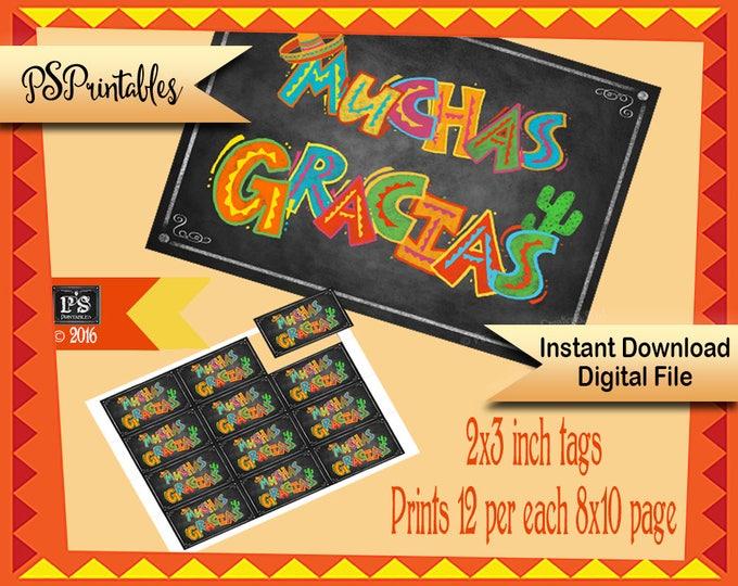Printable Muchas Gracias Fiesta Party tags, favor tags, muchas gracias tags, fiesta Thank you tags, Birthday Fiesta tags, Fiesta favor tags