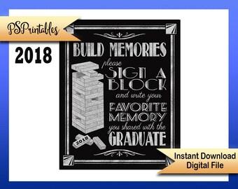 2018 Graduation sign | PRINTABLE sign, graduation sign, 1920's graduation, Art Deco graduation party sign, BLACK & SILVER Grad Party Decor