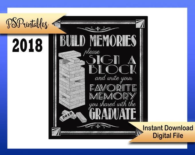 2018 Graduation sign   PRINTABLE sign, graduation sign, 1920's graduation, Art Deco graduation party sign, BLACK & SILVER Grad Party Decor