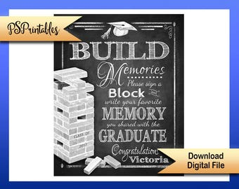 Printable Grad Sign, Sign a block graduation sign, personalized grad sign, 2019 graduate sign, DIY graduation party, graduation party decor