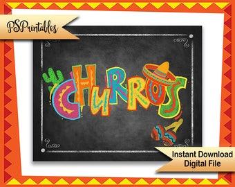 Churros Sign, Printable fiesta sign, fiesta Dessert Bar sign, Birthday fiesta, cinco de mayo decor, wedding fiesta, printable wedding sign