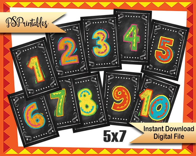 Fiesta Table numbers 1-10 | PRINTABLE Wedding numbers, Fiesta Wedding, DIY Table numbers, Wedding Fiesta, Fiesta Decorations, Number banners
