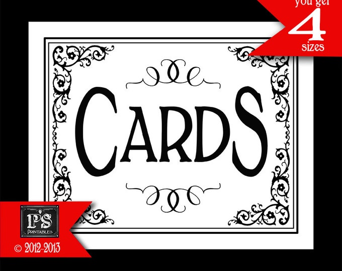 Cards Sign for your Wedding cards box - instant download PRINTABLE digital file - DIY - Traditional Black Tie Collection