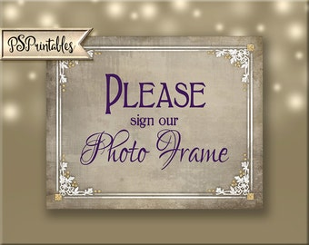 Sign our Photo Frame Printable Wedding Sign, Victorian Wedding, plum white gold wedding, DIY wedding signage - Old Lace Collection