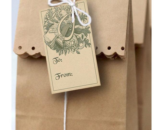 Vintage Harp & Greenery Christmas Gift Tag - Instant Download - Printable Holiday Gift Tag